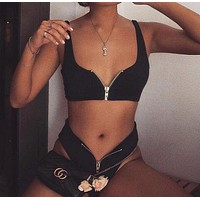 Hot sell trend pure color high waist zipper swimsuit sexy two-piece suit bikini