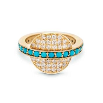 Diamond And Turquoise Disc Ring