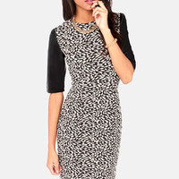 Faux Leather Young Beige and Black Jacquard Dress