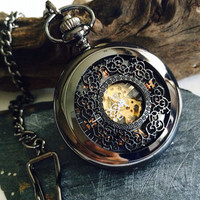 Black pocket watch- Steampunk- Mens Mechanical Pocket Watch Engravable Personalized Groomsmen gifts vsm024