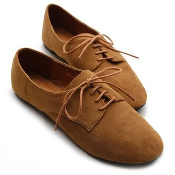 Ollio Women's Ballet?Flat Shoe Faux Suede Lace Up Oxford(7 B(M) US, Brown)