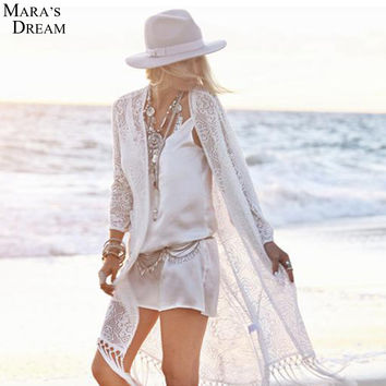 Casual Dress For Women Clothing Sexy Hollow Out Short White Lace Dress Summer Beach Dress Plus Size Bohemian