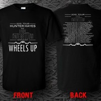 Hunter Hayes Lady Antebellum 2015 Wheels Up Tour Date Black T-shirt S to 3XL Tee