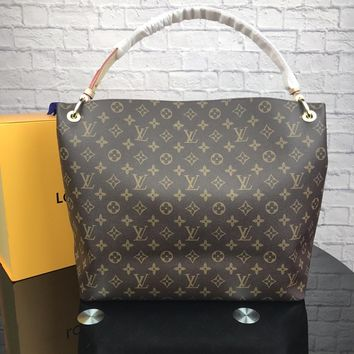 LV 2018 new classic Monogram printing large capacity Tote bag handbag Messenger bag coffee monogram