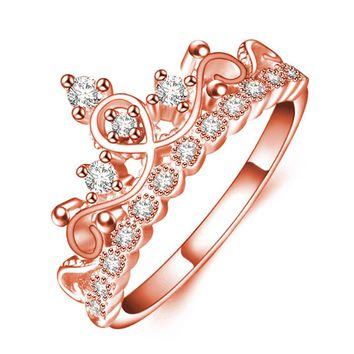 Crown Shaped Rose Gold Color Rings For Women