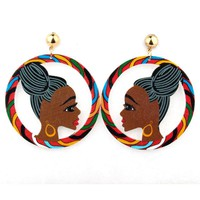 Bohemian African Colorful Female Figure Dangle Earrings