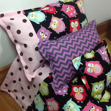 "Doll bedding with colorful owls, purple chevron, reverses to pink and brown polka dot, 4 pc set for 18"" dolls,  3 pillows, little girl gift"