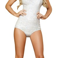 Sexy Women's Two Piece Bunny Rabbit Silver Sequins Romper Halloween Costume