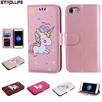 STROLLIFE Luxury Cartoon Unicorn Flip Leather Wallet Case Cover For iPhone 5 SE 5s 6 6s 7 8 Plus Glitter Coque Phone Purses Bags