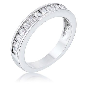 WildKlass Baguette Cut CZ Rhodium Plated Wedding Band