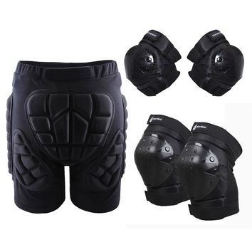 WOSAWE 3 in 1 Protective Hip Pad Padded Shorts Skiing Skating Snowboarding Impact Protection+Elbow Pads Guard+ Knee Pads Guard