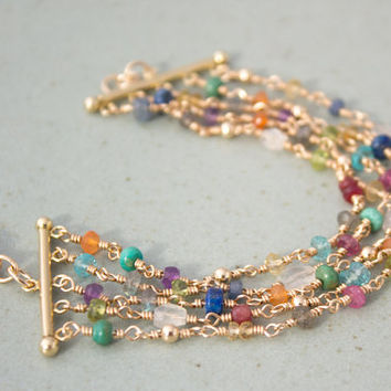 Gold Filled Multi Strand Gemstone Bracelet