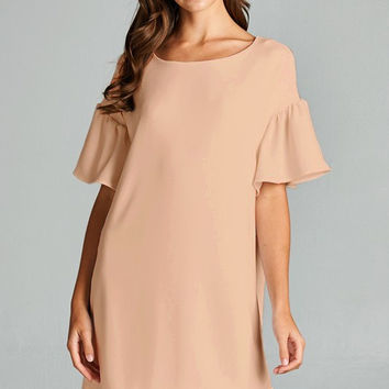 Blush Bell Sleeve Shift Dress