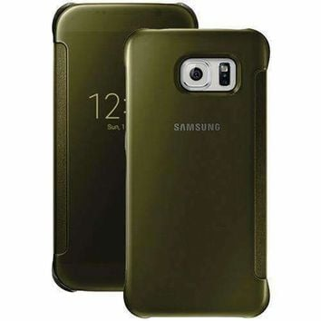Samsung Samsung Galaxy S 6 S-view Flip Cover (clear And Gold) (pack of 1 Ea)