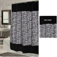 "Carnation Home Fashions ""Animal Instincts-Savanna"" Faux Fur Trimmed Shower Curtain, Packed with a PEVA Shower Liner, 70 by 72-Inch"