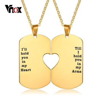 Vnox Couples Heart Love Necklace Gold Tone Stainless Steel His Her Anniversary Dating Promise Gift