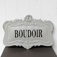Grey Boudiour Metal Wall Plaque Sign