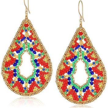 CREYV2S Miguel Ases Large Ankara Print Intricate Swarovski Teardrop Earrings