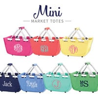 CUSTOM Monogram Mini Market Totes -- Great for Easter baskets, Toys, or anything for your little one!