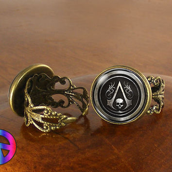 Assassins Creed Black Game Gamer Womens Adjustable Ring Rings Jewelry Art Gift