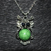 Silver Owl with Green Stone Pendant Necklace