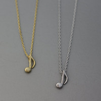 Musical Note Pendant Necklace  -  Available color as listed ( Gold, Silver )