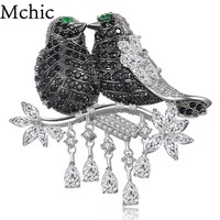 Mchic AAA+ Luxury Cubic Zirconia Magpie Lover Bird Pendant Brooch Pin Animals Broche Corsage For Female Exquisite Top Grade Gift