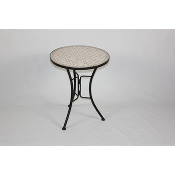 4D Concepts Travertine Round Top Coffee Table in Antique Tuscany Metal