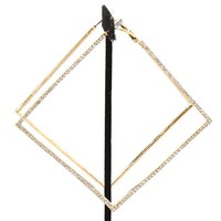 """4.50"""" gold clear crystal pave square earrings basketball wives hoop"""