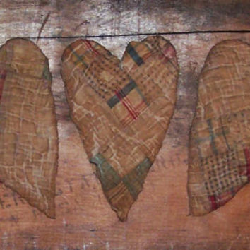 Tattered Ornaments - Primitive Antique Quilt Hearts - Americana Decor - Red White Blue Plaid