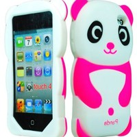 iPod Touch 4 Case, Bastex 3D Silicone Hot Pink & White Panda Bear Case for Apple iPod Touch 4