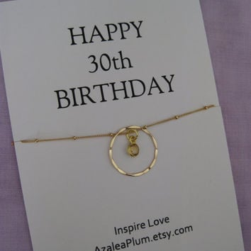 Sisters 30th BIRTHDAY Gift GOLD Eternity Circle Birthday For Mom