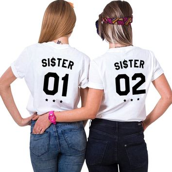 Best Friends Shirts Fashion INS Tumblr Chic BFF T Shirt Women Plus Size Letter Tshirt Femme Sister 01 Sister 02 T-Shirt Female