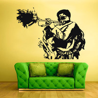 rvz1436 Wall Decal Vinyl Sticker Decals Music Jazz Musicans Hat