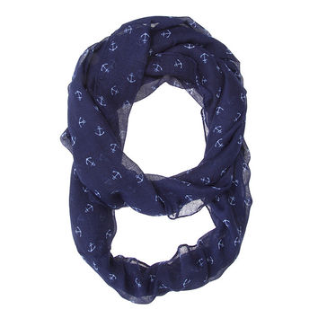 Womens Anchor Print Infinity Scarf Blue