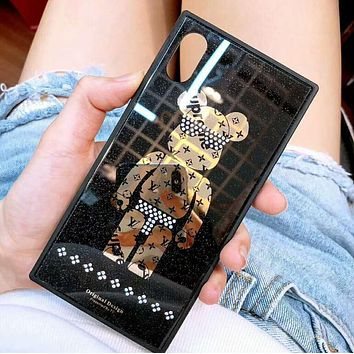 LV Louis Vuitton X Supreme Popular Creative Crystal Bear Pattern Phone Case Shell For iphone 6 6plus iphone 7 7plus iphone 8 8plus iphone X Black I12325-21