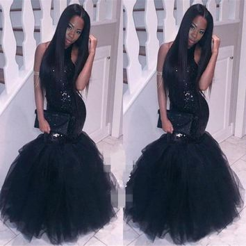 Black Sparkly Sexy Long Mermaid Prom Dresses for Girls Fast Shipping African Evening Dresses for Graduation Promdress