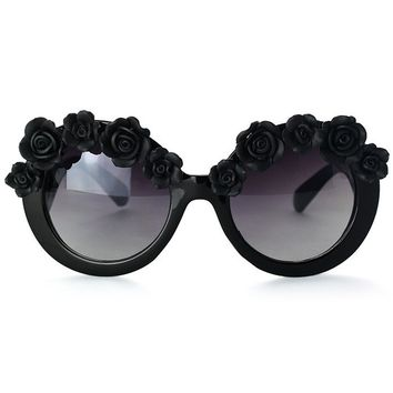 Black Cat Eye Sunglasses with Flower Embellishment