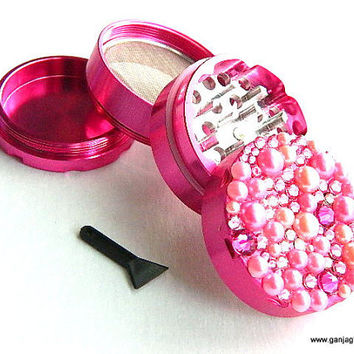 Hot Pink GrinderBling Herb Grinder Crystal Kawaii by GanjaGlam