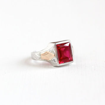 Vintage Art Deco Sterling Silver & Rose Gold Created Red Ruby Ring - 1930s Size 10 Men's Statement Two Tone July Birthstone Jewelry
