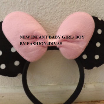 Baby infant size Minnie Mouse Ears Headband Black with Pink bow baby boy baby girl Halloween