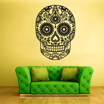 Wall Decal Mural Sticker Beautyfull Cute Sugar Skull Bedroom Curly Menhdi fashion (z2062)