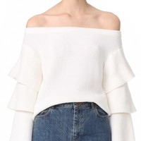 Off Shoulder Tiered Sleeve Top