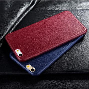 Leather Pattern Silicone Phone Back Case for Apple iPhone 6 Case iPhone6 6S 7 Plus 5S 5 SE Cases Fundas Coque luxury Cover