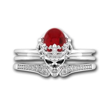 Europe Skull King Silver Ring Red Crystal Charm Wedding Ring