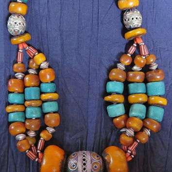 Moroccan Berber Necklace with Enamel Eggbead, Coins, Faux Amber Resin, Chevron, & Amazonite Beads