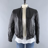 Vintage 1980s Black Leather Jacket with Sherpa Lining