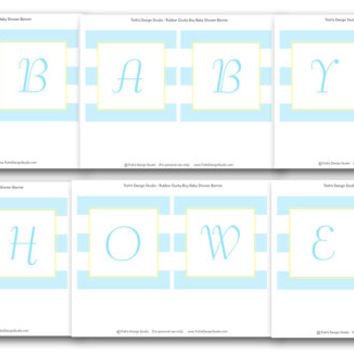 Rubber Ducky Boy Baby Shower Banner: INSTANT DOWNLOAD