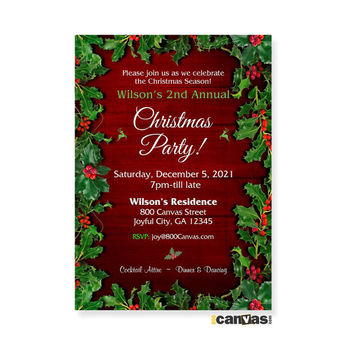 Christmas Invitations. Christmas Party Invitation. Christmas Open House Party. Holiday Party Invitation. Mistletoe. Ornaments. Wooden 21