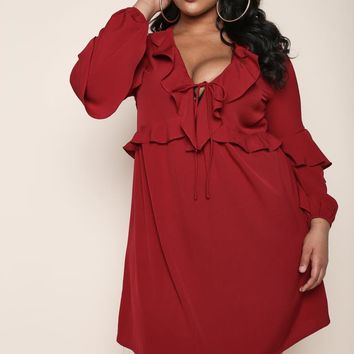 Ruffle Some feather Flare Plus Size A-line Dress